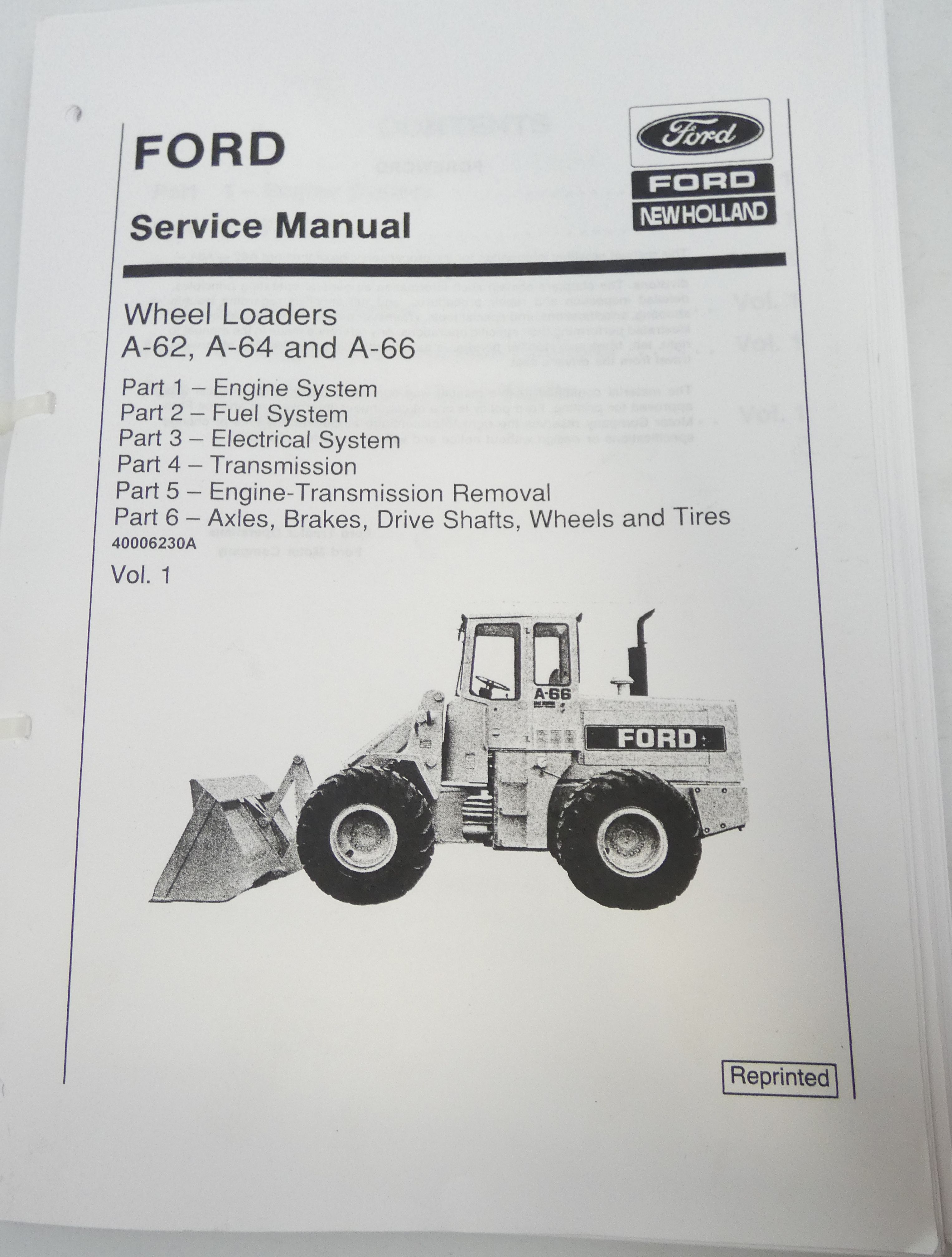 Ford A-62, A-64 and A-66 wheel loaders service manual
