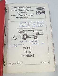 Ford New Holland Model TX32 and TX34 combine service parts catalogue