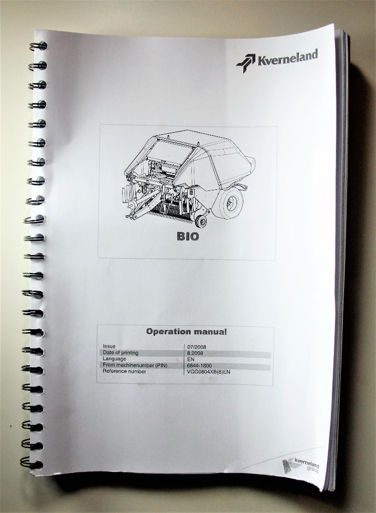 Kverneland BIO Operation Manual