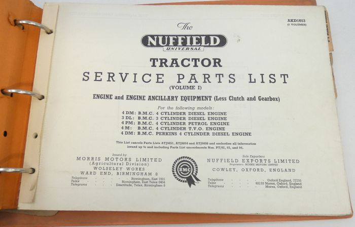 Nuffield Universal tractor 4DM, 3DL, 4PM, 4M, 4DM service parts list volume I