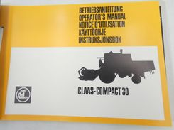 Claas Compact 30 operator's manual + lubrication chart