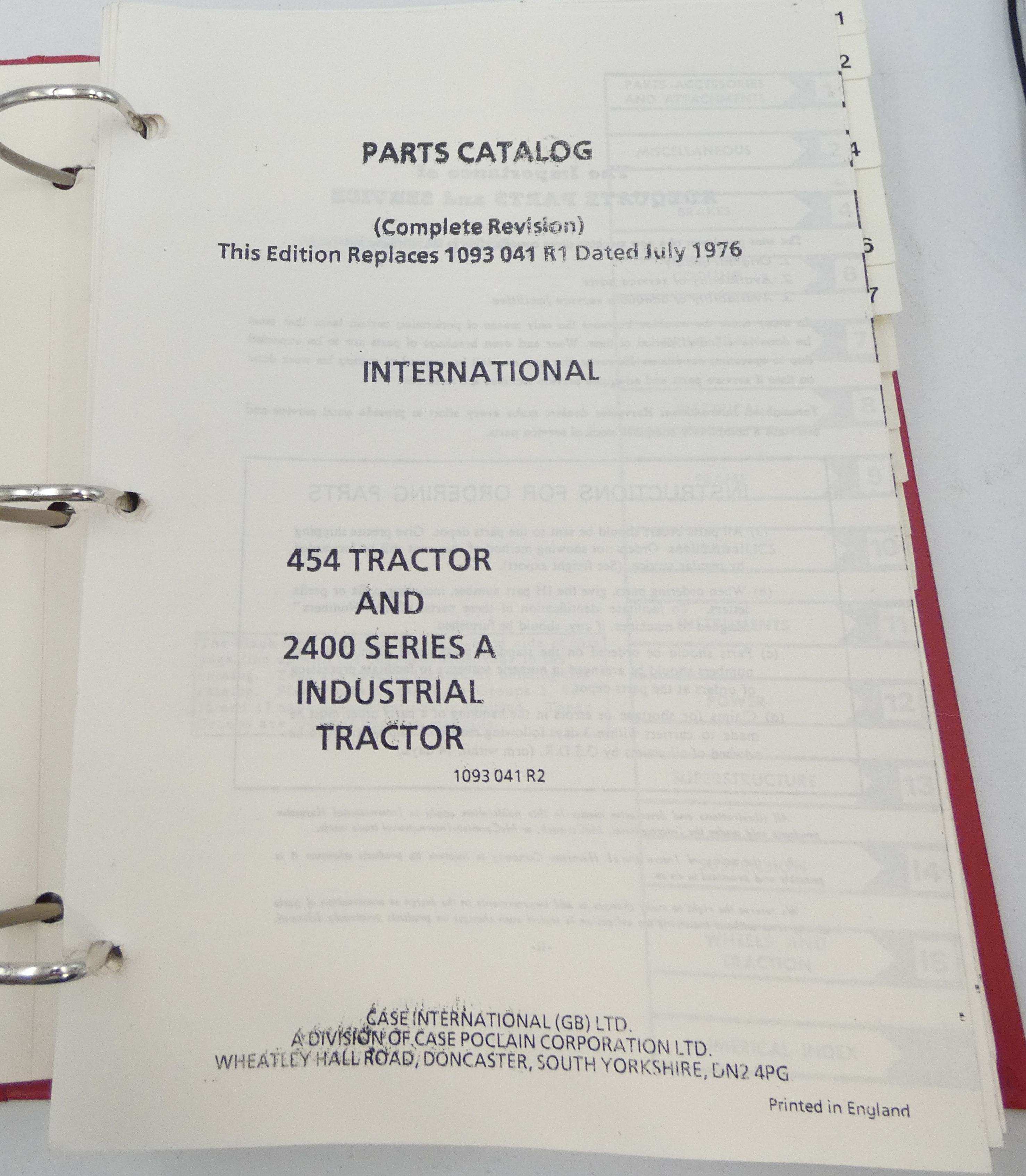 Case 454 and 2400 series A insdustrial tractor parts catalog