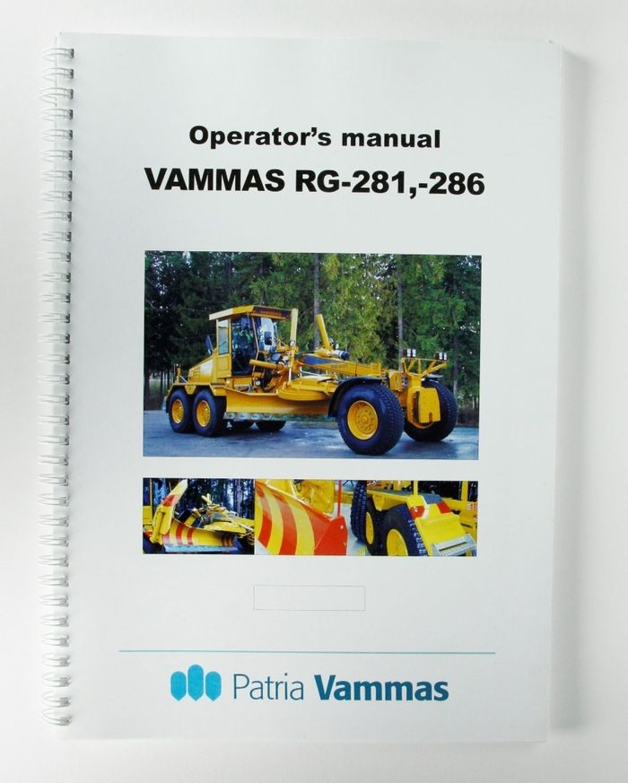Vammas Tiehöylä RG-281 and RG-286 Operator´s manual