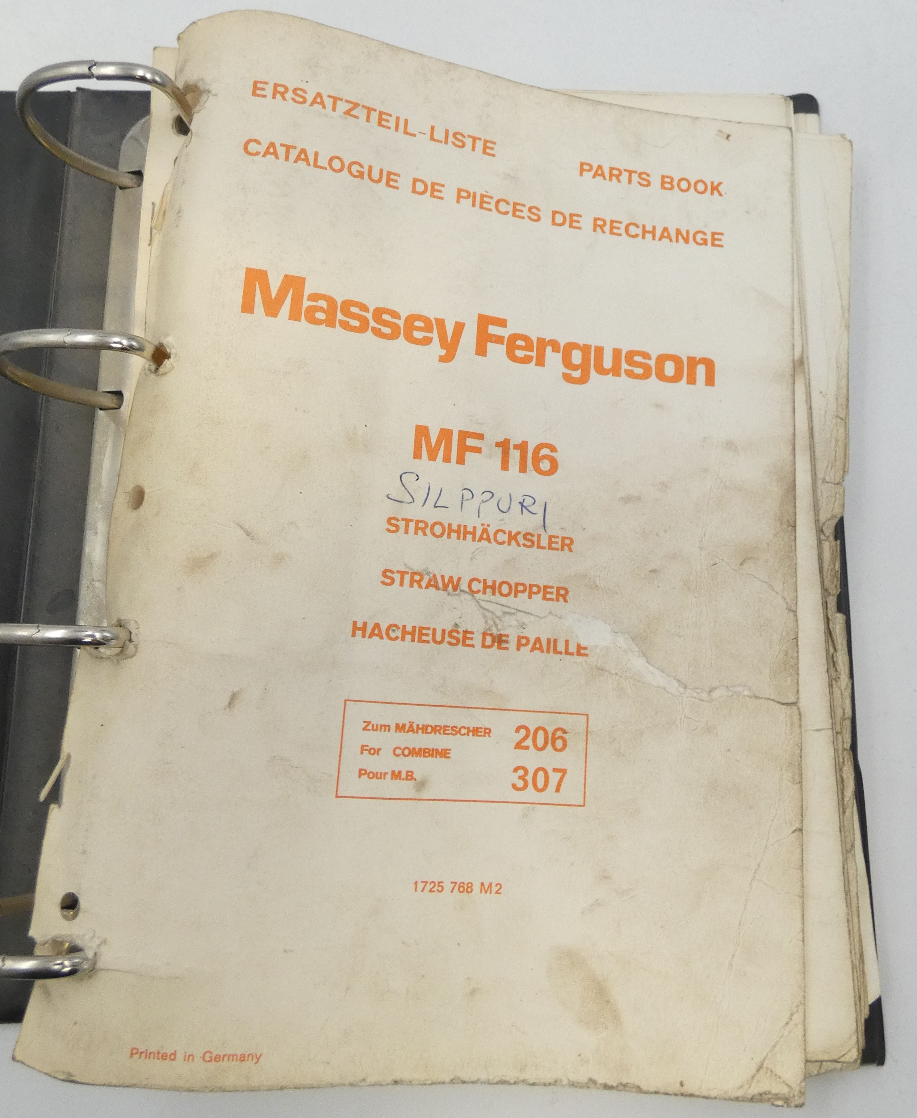 Massey-Ferguson MF116 straw chopper for combines 296 and 207 parts book