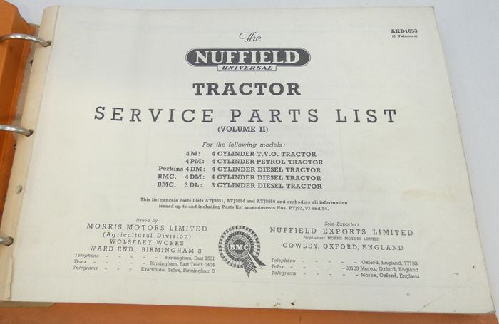 Nuffield Universal tractor 4DM, 3DL, 4PM, 4M, 4DM service parts list volume II